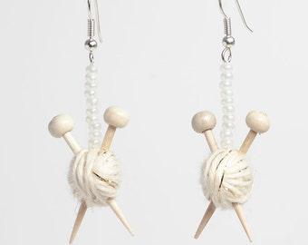 Knitting Earrings - Sparkly white ball of yarn & knitting needles