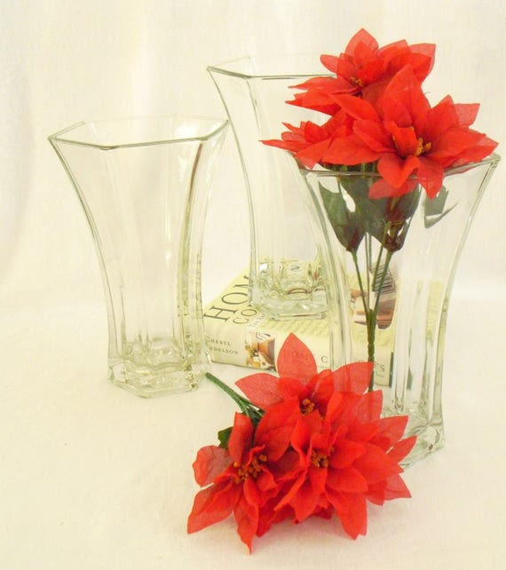 Vintage Heavy Hoosier Glass Vase 4041 6 Sided All Season