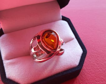 Ring in 925 sterling silver and amber honey - cognac - gift - anniversary - Present - Valentines