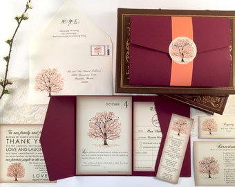 Fall Tree Wedding Invitation Suite, Red and Orange Wedding Invitations, Invitation Suite, Printable PDF, Autumn Invite