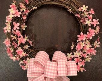 Pink dogwood wreath