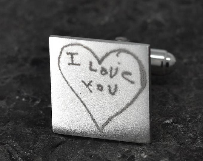 Handwriting Cufflinks, Fingerprint Jewelry, Fingerprint Cufflinks, Handwriting Jewelry, Personalized Cufflinks, Engraved Jewelry, Custom