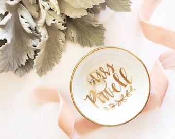 Personalized Mrs. Last Name Ring Dish, Jewelry Dish, Trinket Dish, Wedding Ring Dish