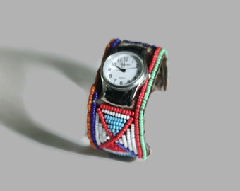 Watch strap Maasai Masai beaded beads authentic fair trade handmade leather big bright colourful