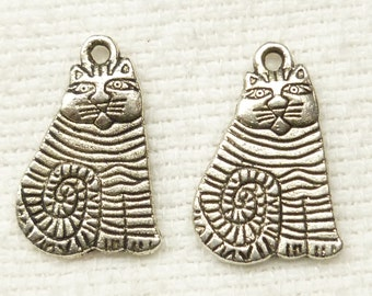 Silver Tone Striped Cat Charms (6) - S6