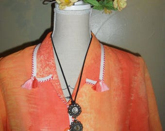 vintage recycled, customized orange dress
