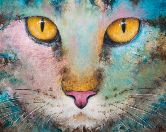 Cat Wall Art Gift - Tabby Cat Wall Art Decor - Cat Art Print - Best Cat Lady Gifts - Cat Lover Gift - Cat Decor - Colorful Cat Artwork