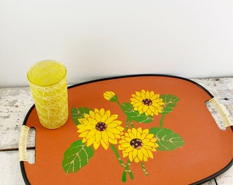 Vintage Tray With Painted Sunflowers