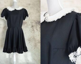70s Victorian Dress, Edwardian Dress, Vintage 1970 Black Gothic Dress, Lace Dress, party dress, size m, size L, Medium Large