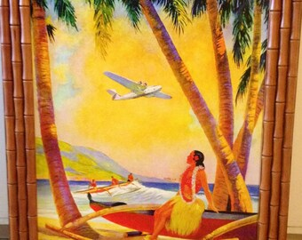 24 Hour Sale! CHINA CLIPPER Honolulu Hawaii Art Deco Airplane Travel over Diamond Head 1930s American, TWA, Pan Am United Airlines