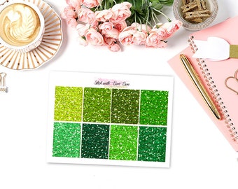 Glitter hearder GREEN TONE planner stickers for Erin Condren Life Planner Vertical layout