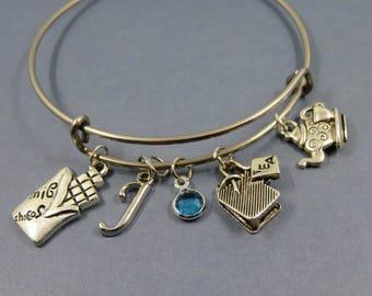 Silver theme Bangle bangle bracelet chocolate tea break teapot alphabet letter initial birthstone