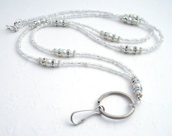 Beaded Lanyard - White Pearls, Crystal Rondelles, Silver