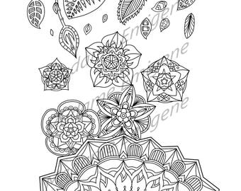 Flower and Leaves Doodle Coloring Page- PDF Instant Download