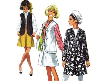 60s Vest, Jacket, Skirt Pattern Simplicity 8245 Inverted Pleat Skirt Casual Suit Womens Size 10 Vintage Sewing Pattern