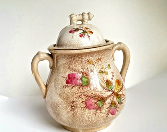 Antique China Jar with Lid, Knowles Taylor & Knowles, Iron Stone China, Moss Rose, Sugar Bowl, Vintage China, Boho Chic Home, vintage Decor