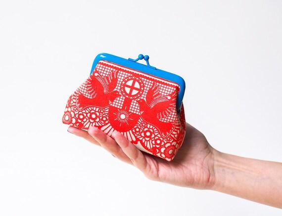 Red Coin Purse, Kiss Lock Purse, Metal Frame Pouch, Change Purse, Blue Purse, Birds Purse, Mini purse, Red White Blue Purse, Small Purse