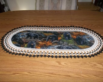 Crocheted Black Bear Table Runner Beware the Bears are out and Hungry in Montana 16 X 36 Table Topper Centerpiece Dresser Scarf Handmade