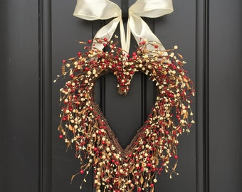 Heart Shaped Door Wreath - Red and Cream Berry Wreath - Heart Shaped Berry Wreath