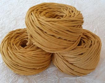 Cotton cord. Twisted cotton cord. Cotton rope. Macrame rope - spool of 100% cotton rope - 5 mm - mustard.