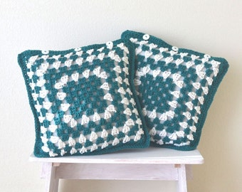 Granny Square Pillow Covers 63% OFF 14 Inch Handmade Crochet Pillow Cushion Covers White Teal Blue Set of 2