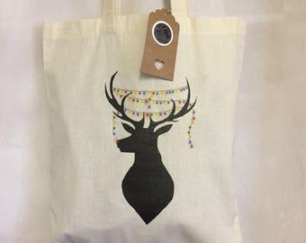 Reindeer shopper tote bag, christmas shopping bag, christmas lights, xmas gift bag, christmas gift, rudolf shoulder bag, colourful christmas