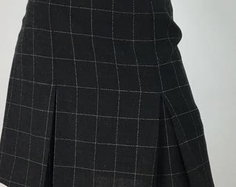Vintage club monaco skirt/90s box pleat wool skirt