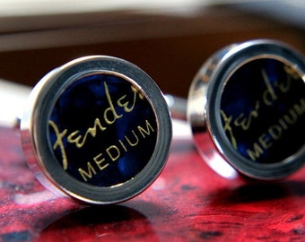 Blue Guitar Pick Custom Cuff Links Medium - Multiple Colors Now Available