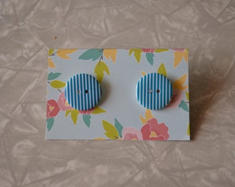 Blue & White Striped Button Earrings