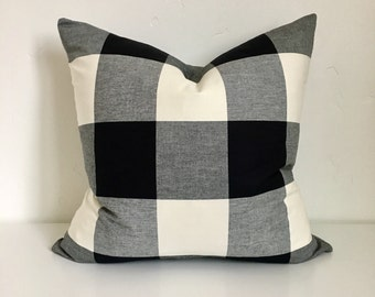 20x20 Jet Black and White Buffalo Check Plaid Zipper Pillow Cover