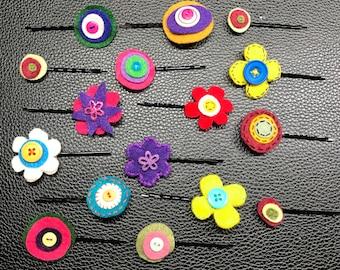 16 Pcs  Handmade Felt Hairpins - Flowers, Circles, Buttons for Girls