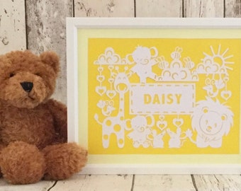 Framed, personalised double colour mount cute animals paper cut