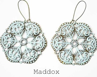 The MADDOX Cut out Shabby Chic Large Dangle Earrings
