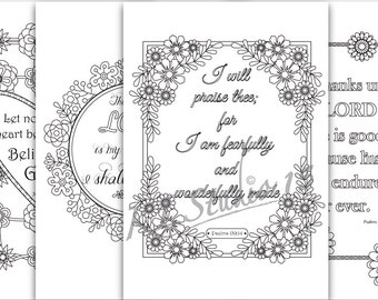 Bible Verse Coloring Pages, 4 coloring pages , Instant Download