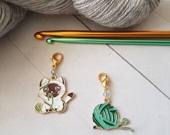 Ball of Yarn Enamel Progress Keeper -Stitch Marker -bag charm -zipper pull -Knit Crochet -accessory