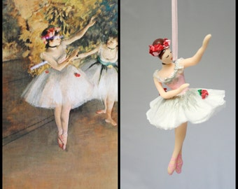 Degas Pink Ballerina Ornament Hand Sculpted in Clay