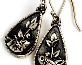 Silverberry Earrings - Dark Oxidized Sterling Silver Bird Earrings with Hypoallergenic Ear Wires