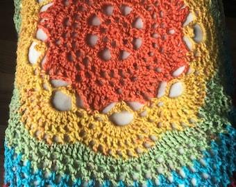 Mandala bohemian hippie lace rainbow festival vest
