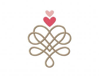 Swirling heart embroidery design