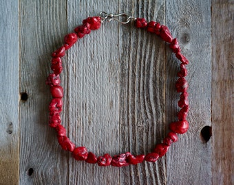 Chunky Red Nugget Necklace, Red Stone Necklace, Red Howlite Necklace, Statement Necklace