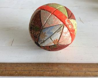 70s Vintage Japanese Temari Ball - Vintage Kimekomi Ball - Decorative Ball - Japanese Vintage Ball made with Kimono Fabric - Toy Ball