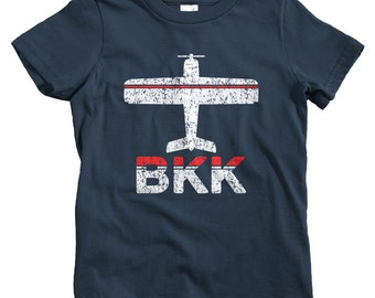 Kids Fly Bangkok T-shirt - BKK Airport - Baby, Toddler, and Youth Sizes - Thailand Tee, Thai, Travel, Gift - 2 Colors