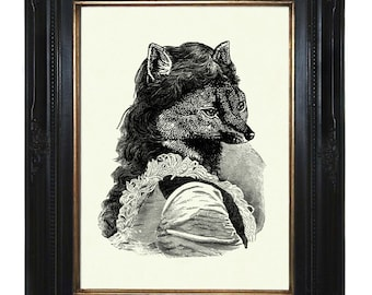 Lady Fox Art Print Victorian Woodland Portrait Steampunk Art Print Portrait Vixen Animal
