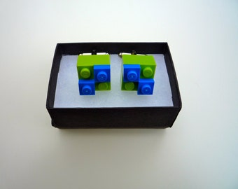 Lego Cufflinks - blocks with ones in a variety of colours