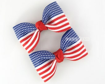 """Hair Clips - July 4th American Flag Hair Bows Matching Pair 2.5"""" Bows - Red White and Blue Baby Toddler Girl Non Slip Alligator AP"""