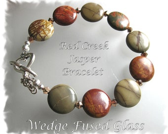 Red Creek Jasper bracelet w/Swarovski 2xAB spacers, heart toggle, adjustable