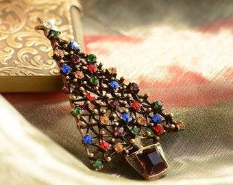 Christmas Tree Pin, Christmas Tree Brooch, Christmas Pin, Christmas Brooch, Christmas Jewelry, Pin, Brooch, Tree Brooch, Tree Pin P354-JE