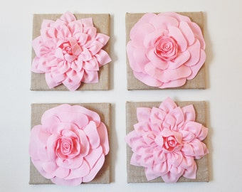 """Baby Nursery Wall Decor -SET OF FOUR Light Pink Dahlias and Roses Burlap 12 x12"""" Canvases Wall Art-"""