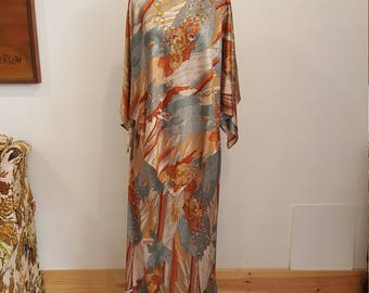 Fantastic ONE OF A KIND Vintage 60s Cape Poncho Blouse & Maxi Skirt, S/M