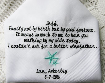 Stepfather Gift Embroidered Wedding Handkerchief- Gift to Dad From Bride- Choose You Design